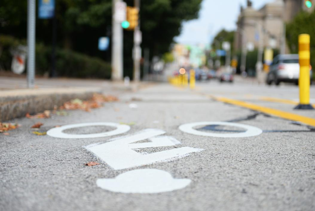 The City of Pittsburgh added bike lanes to parts of Forbes Avenue and Bigelow Boulevard last August. (Photo by Kyleen Considine | Senior Staff Photographer)