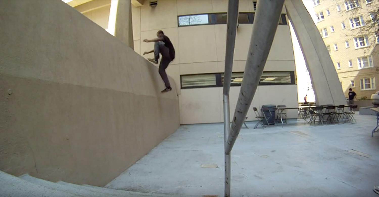 "Kofi, a former Pitt Parkour member is known as ""a legend"" among current members for running up a wall at Ruskin Hall. (Screengrab via YouTube video by pantherflow1)"