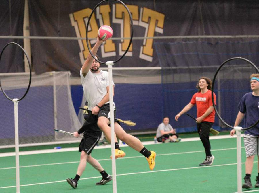 The Pitt Quidditch Club holds a practice game at the Charles L. Cost Sports Center in February 2016. (TPN file photo)