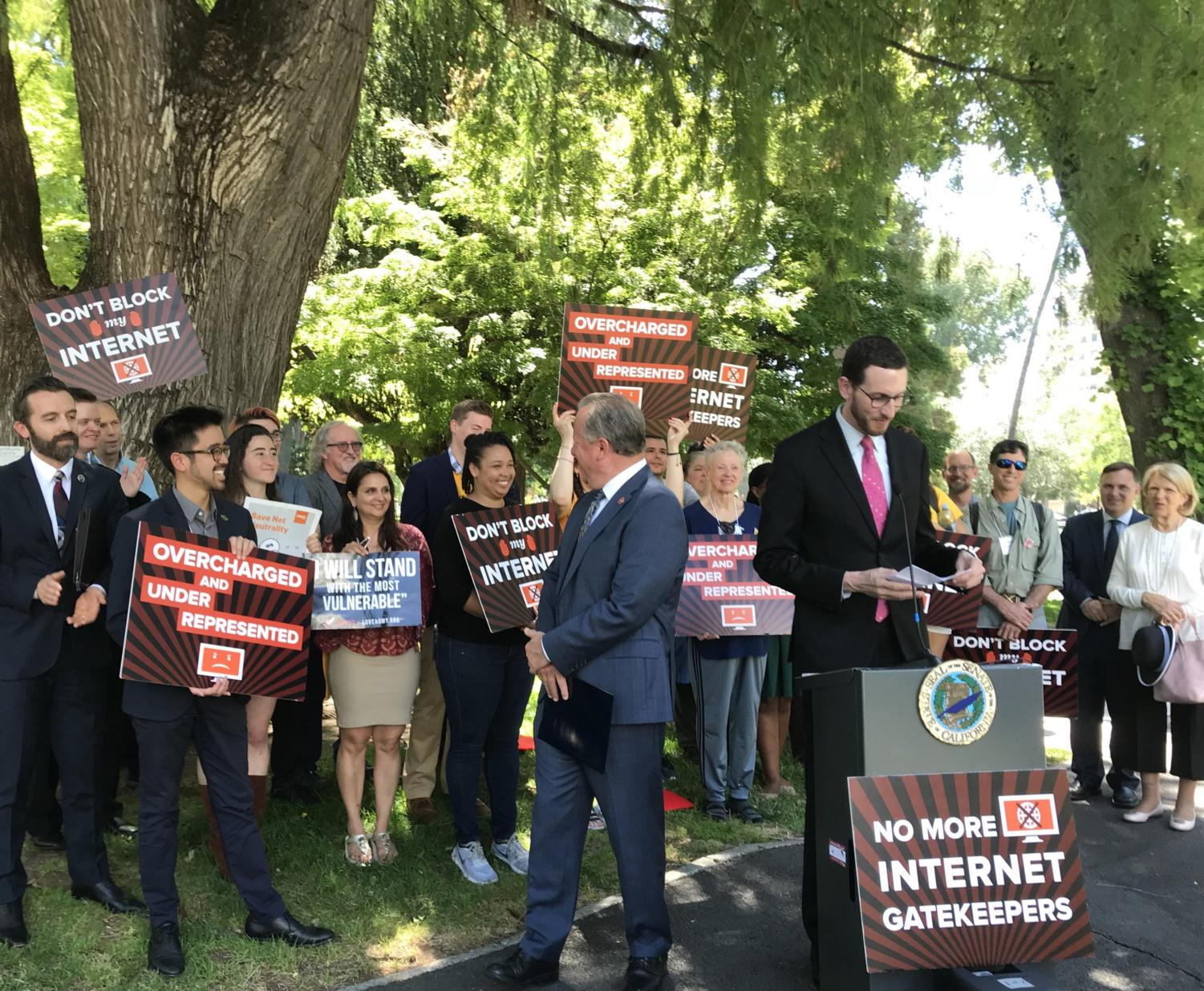 California Sen. Scott Wiener (D-San Francisco) reads a list of consumer and open internet advocacy groups who came to Sacramento on May 29, 2018, to lobby the Legislature on a net-neutrality bill as a Senate deadline looms. Legislators in the state ended a dispute over a proposed net neutrality bill Thursday. (Katy Murphy/Bay Area News Group/TNS)
