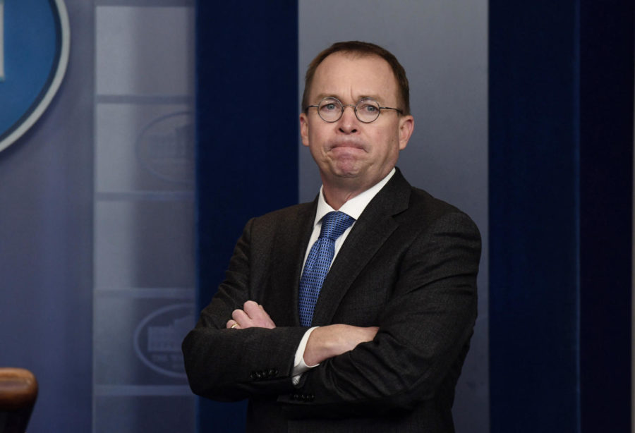 Office of Management and Budget Director and Acting Director fo the Consumer Financial Protection Bureau Mick Mulvaney Jan. 19, 2018 in the White House in Washington, D.C. The CFPBs Student Loan Ombudsman Seth Frotman resigned Monday, citing political differences. (Olivier Douliery/Abaca Press/TNS)