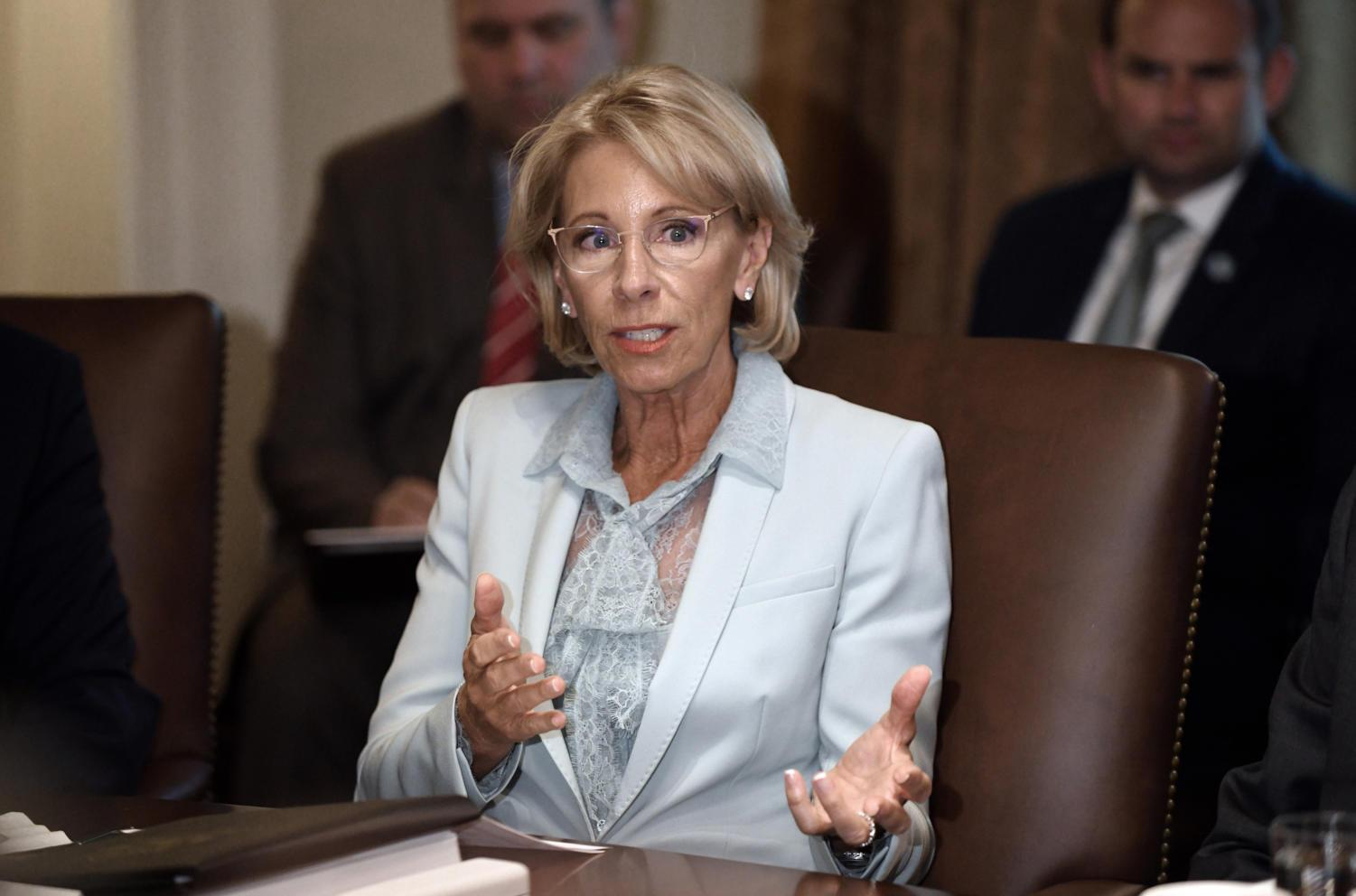 Secretary of Education Betsy DeVos speaks during a Cabinet meeting in the Cabinet Room of the White House on Wednesday, July 18, 2018 in Washington, D.C. (Olivier Douliery/Abaca Press/TNS)