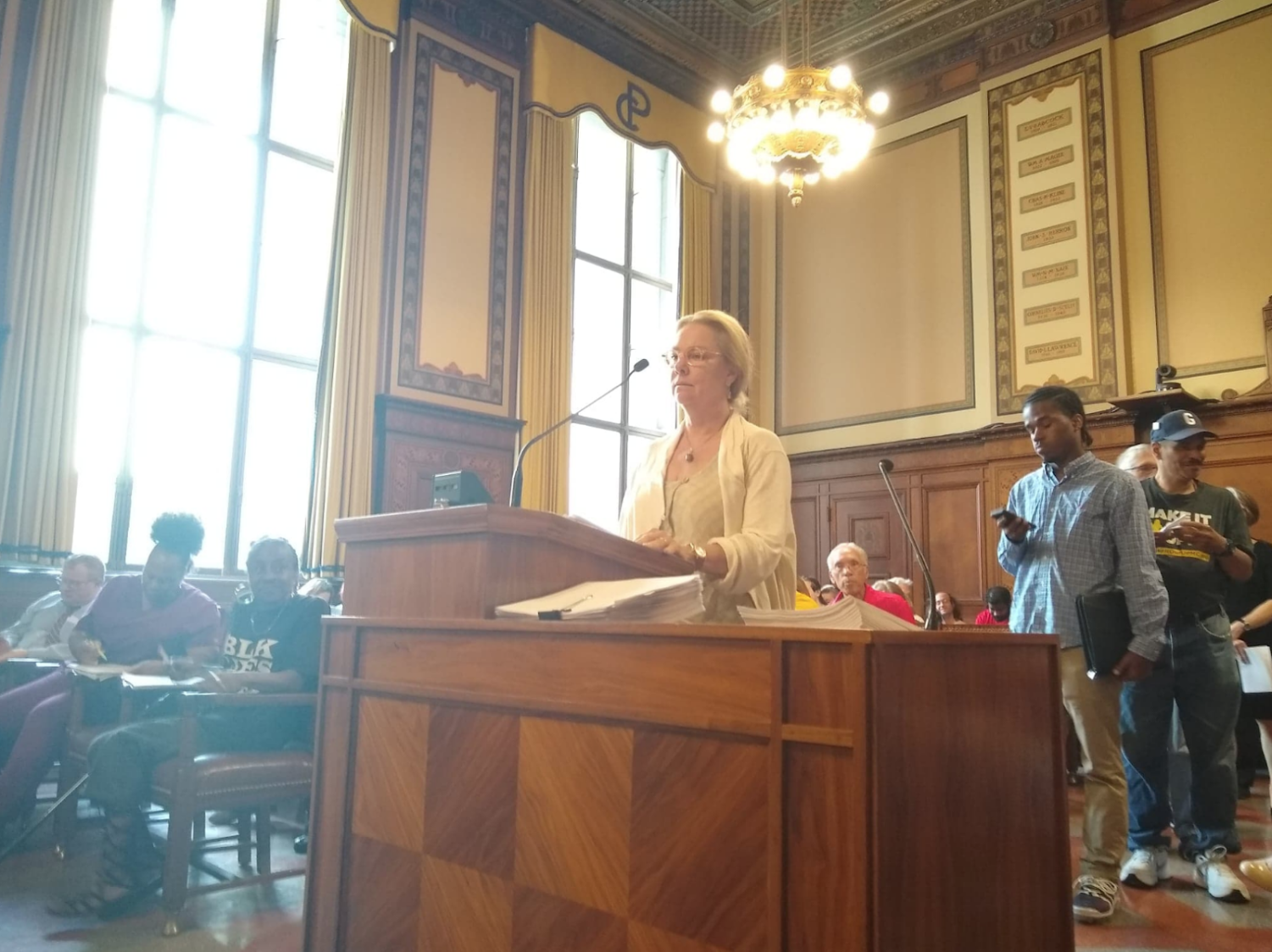 A Pittsburgh resident speaks against the UPMC Mercy Expansion at Tuesday's city council meeting. Council passed a motion to let the hospital expand shortly afterwards.