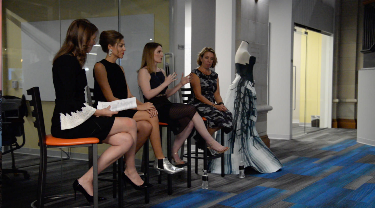"Gemma Sole, COO and co-founder of Nineteenth Amendment, discusses fashion designers and their access to wholesale connections at PGH Fashion Week ""The Future of Fashion Panel"" Wednesday night at the Union Trust Building. (Photo by Maria Heines 