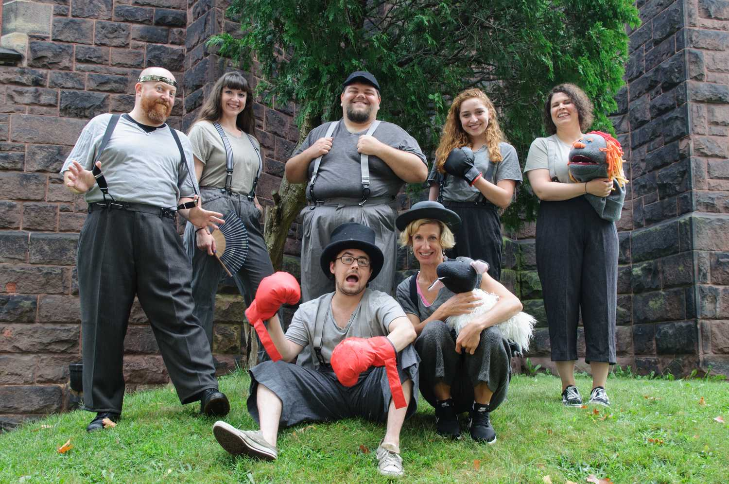 "The cast of ""The Two Gentlemen of Verona,"" produced by Pittsburgh Shakespeare in the Parks, poses together."