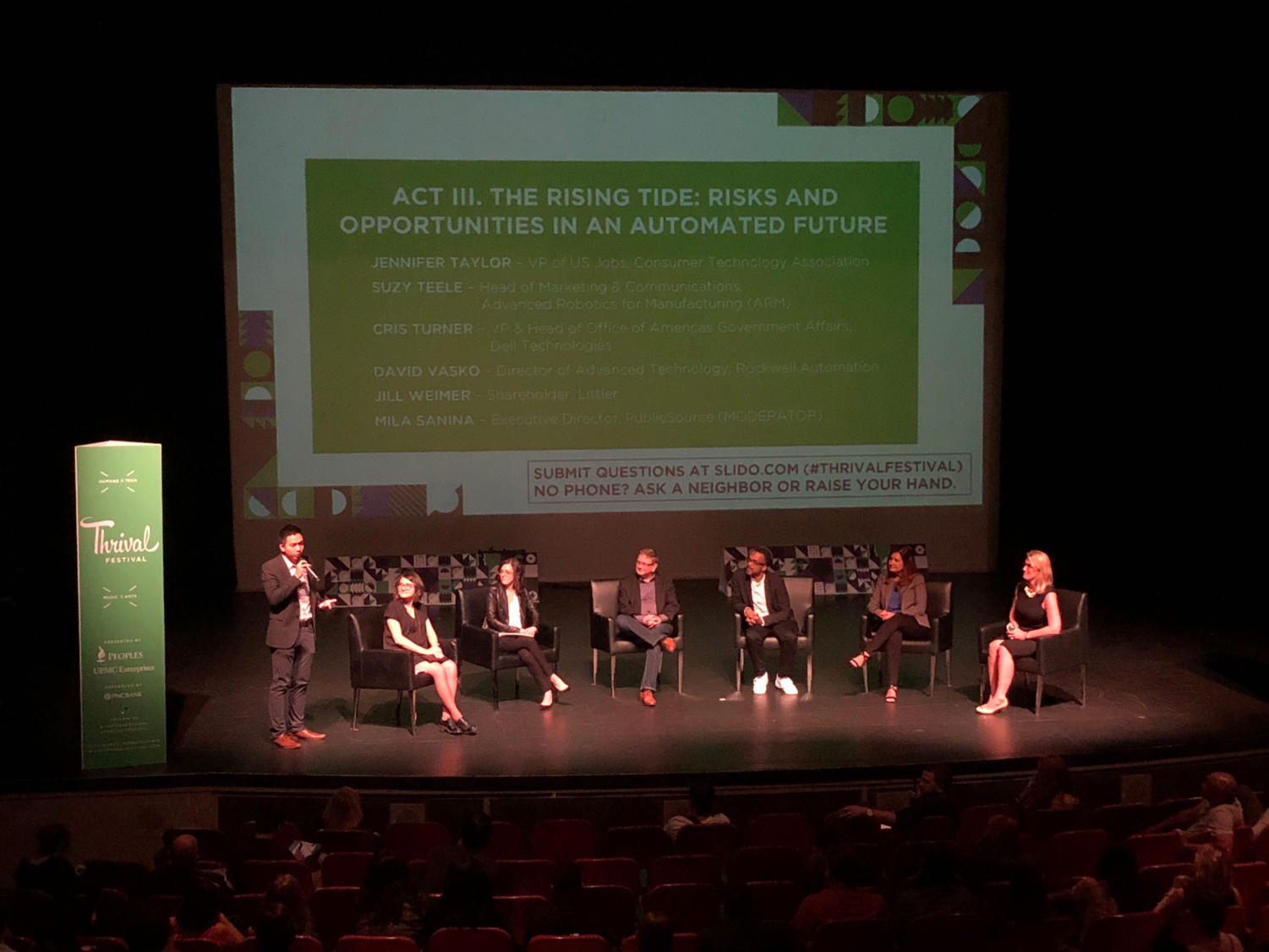 "The ""Act III. The Rising Tide"" panel discusses the future of automation at Thrival's Future of Work Symposium. (Photo by Elizabeth Donnelly 