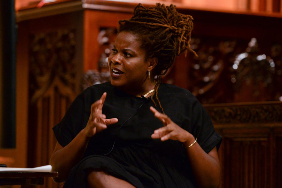 Pulitzer Prize-winner Rachel Kaadzi Ghansah speaks Wednesday evening at Heinz Chapel about the omission of black writers' creative works throughout history. (Photo by David Donlick | Staff Photographer)