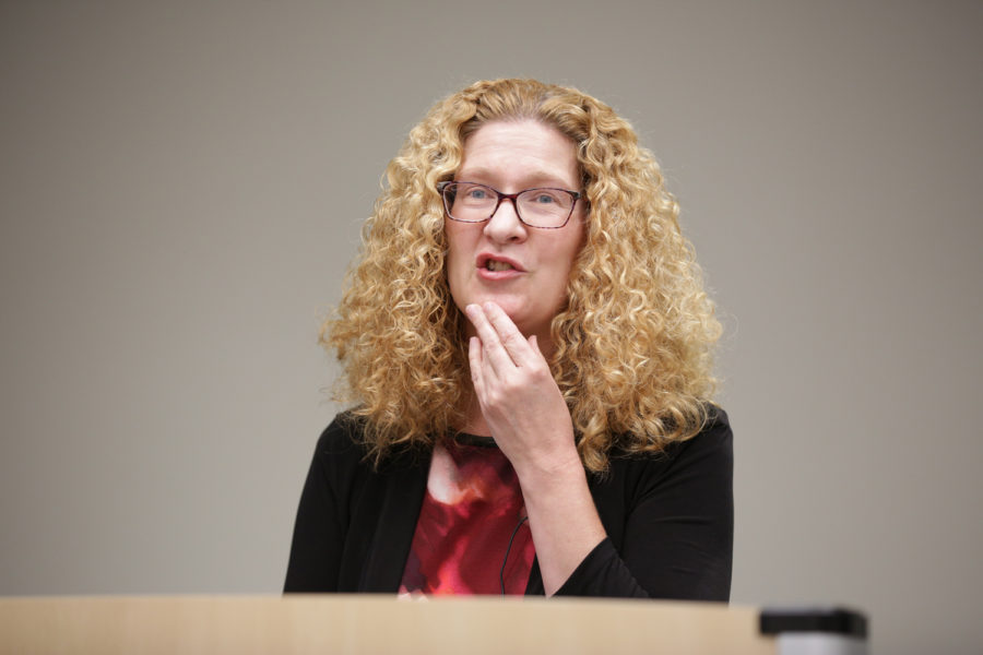 Associate+Dean+for+research+and+faculty+development+Deborah+Brake+discusses+gender+and+its+relation+to+the+14th+Amendment+at+a+Constitution+Day+panel+held+in+Barco+Law+Building+on+Monday.+