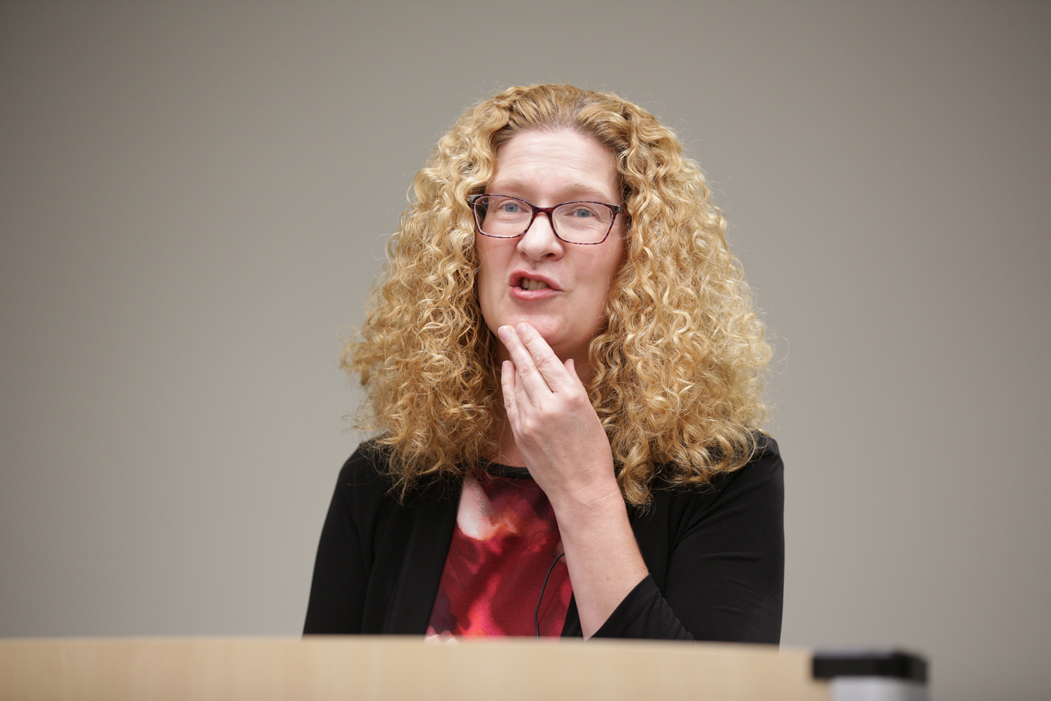 Associate Dean for research and faculty development Deborah Brake discusses gender and its relation to the 14th Amendment at a Constitution Day panel held in Barco Law Building on Monday.
