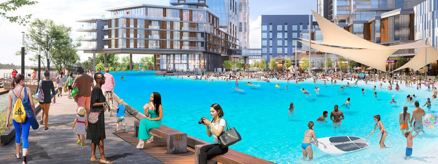 Concept rendering of the planned Esplanade development on the North Shore. (Image courtesy of Crystal Lagoons)
