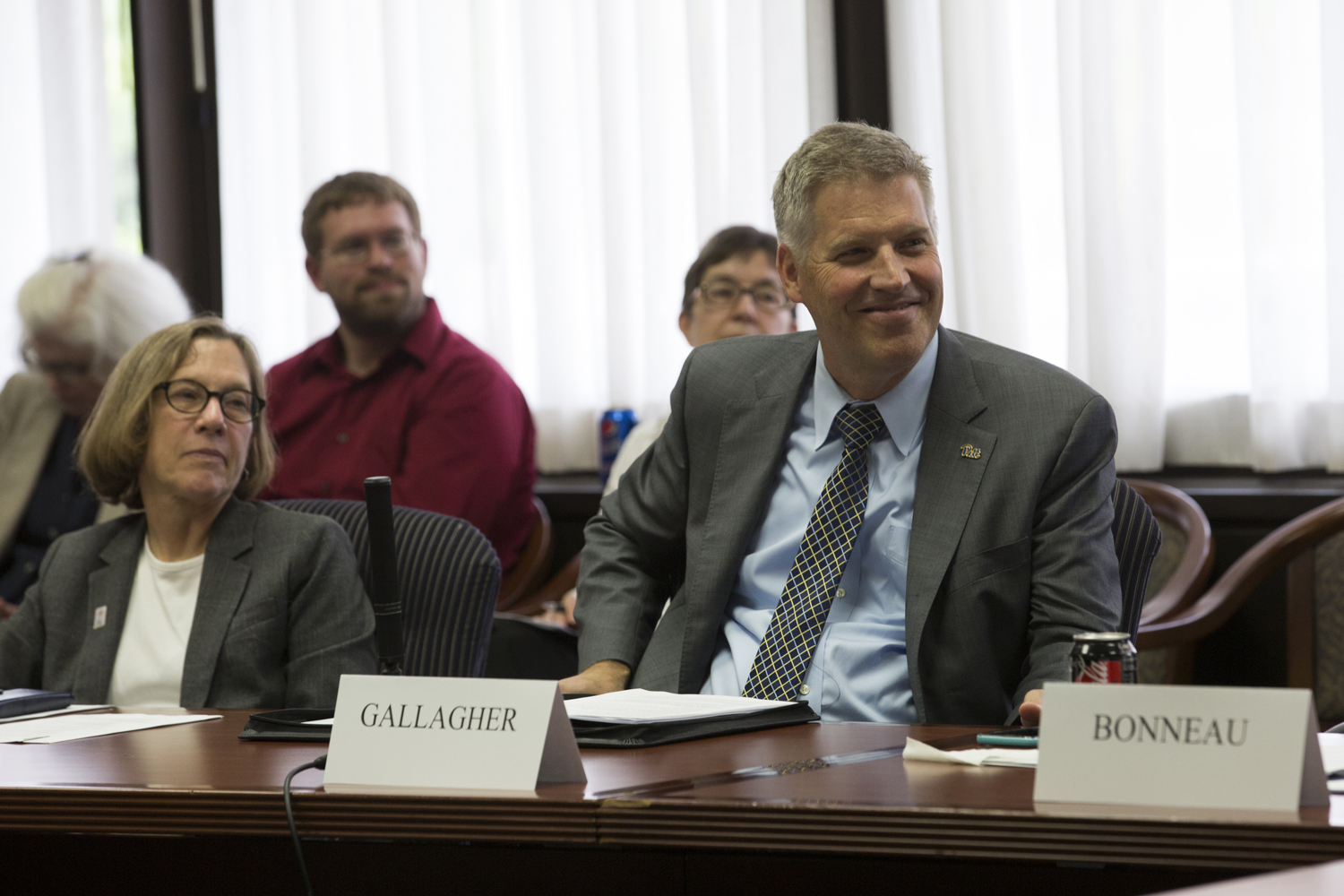 Chancellor Patrick Gallagher spoke about the uncertainty of the upcoming Pennsylvania budget for higher education funding at the first University Senate Council meeting of the 2018-19 school year Wednesday afternoon.
