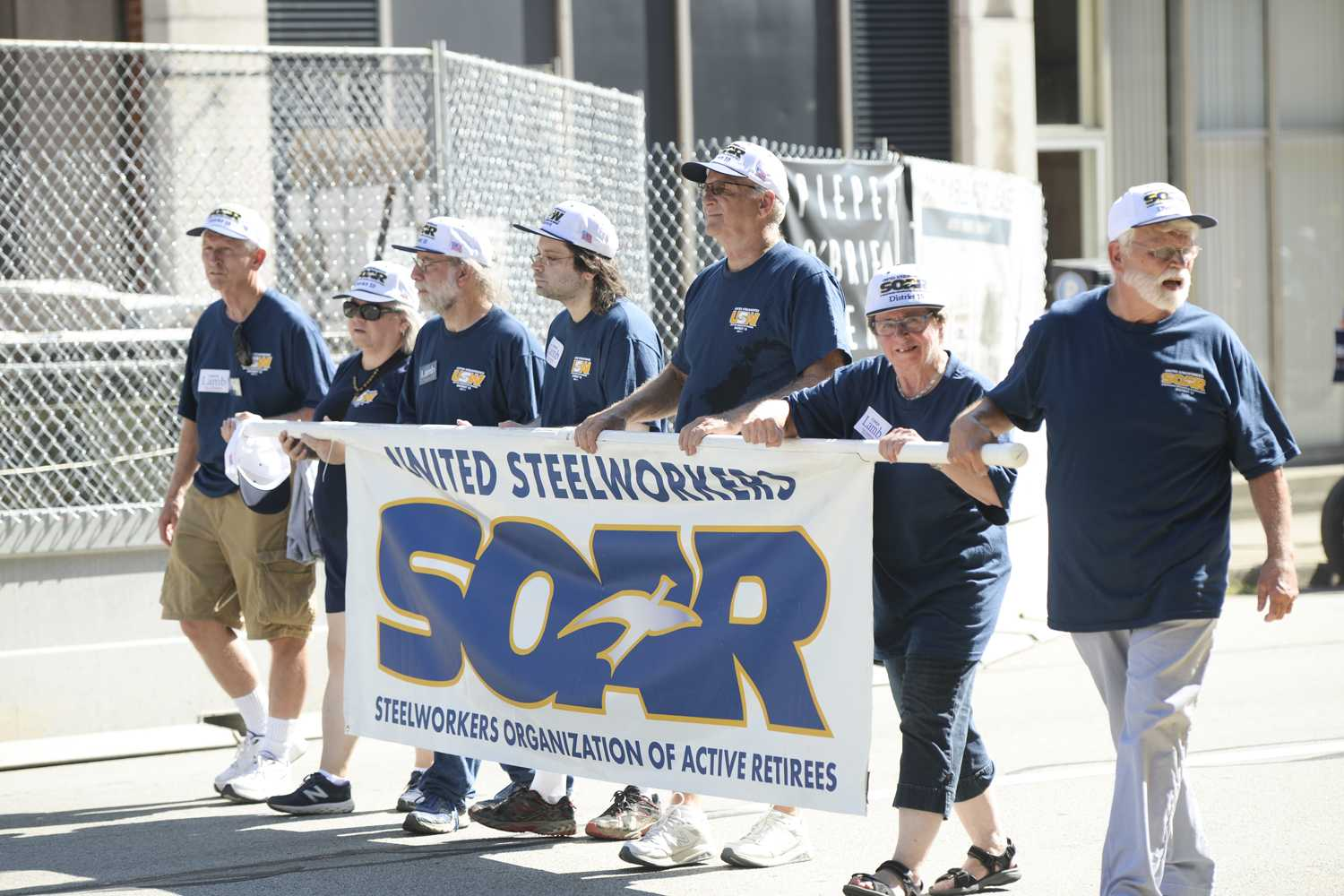 Steelworkers Organization of Active Retirees marches in Pittsburgh's Labor Day parade Monday morning.