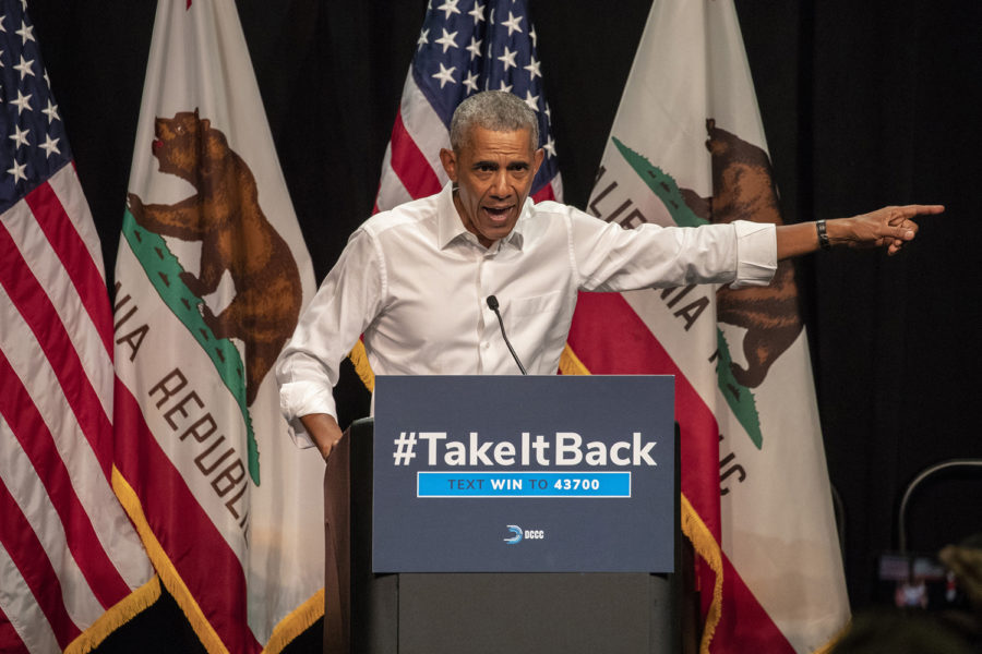 Former President Barack Obama attends a campaign event in Anaheim, Calif., for Democratic congressional candidates last Saturday.