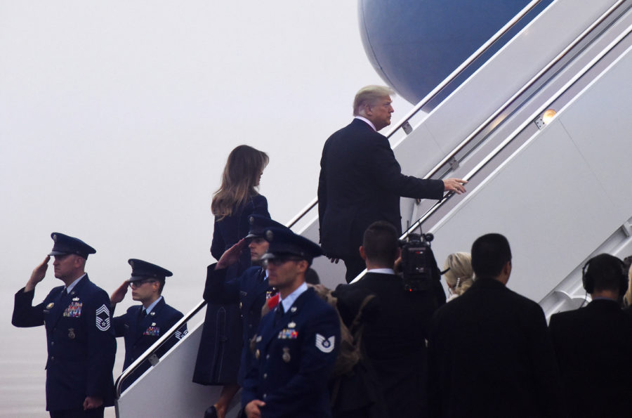 U.S.+President+Donald+Trump+and+first+lady+Melania+Trump+walk+to+Air+Force+One+before+departing+from+Joint+Andrews+Air+Force+base%2C+Maryland%2C+on+Tuesday%2C+Sept.+11.+The+president+and+first+lady+were+headed+to+the+Flight+93+September+11+Memorial+Service+in+Shanksville.+%28Olivier+Douliery%2FAbaca+Press%2FTNS%29%0A
