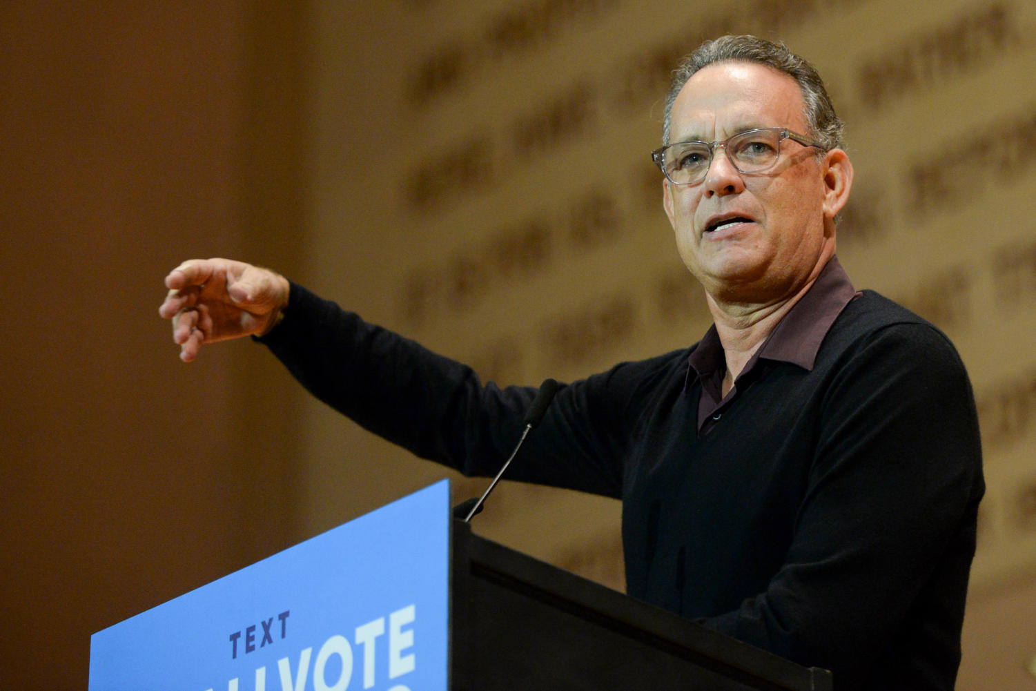 "Actor Tom Hanks speaks as a part of Tuesday evening's ""When We All Vote"" event. (Photo by Sarah Cutshall 