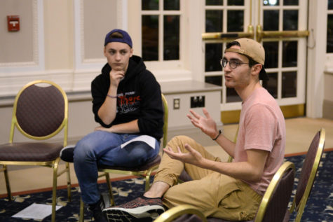 """Junior English writing major Jack Habib discusses suicide statistics at Wednesday night's """"Let's Talk Gun Violence"""" event in the William Pitt Union.  (Photo by Brian Gentry 
