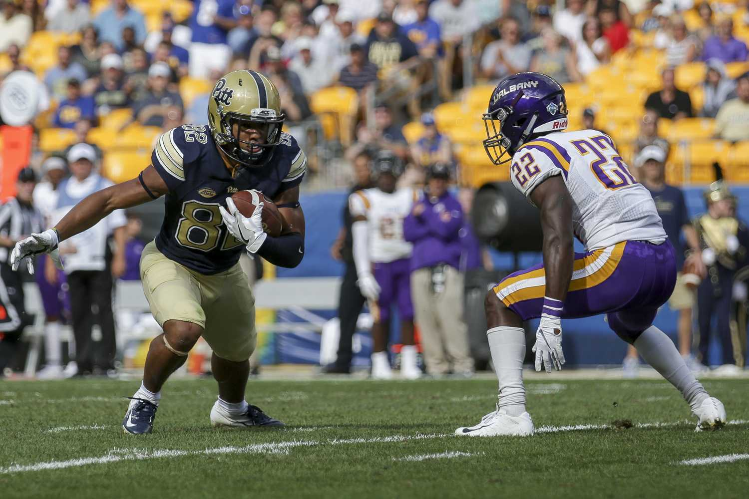 Redshirt senior wide receiver Rafael Araujo-Lopes scored two receiving touchdowns during Pitt's season opener against Albany. (Photo by Thomas Yang | Assistant Visual Editor)