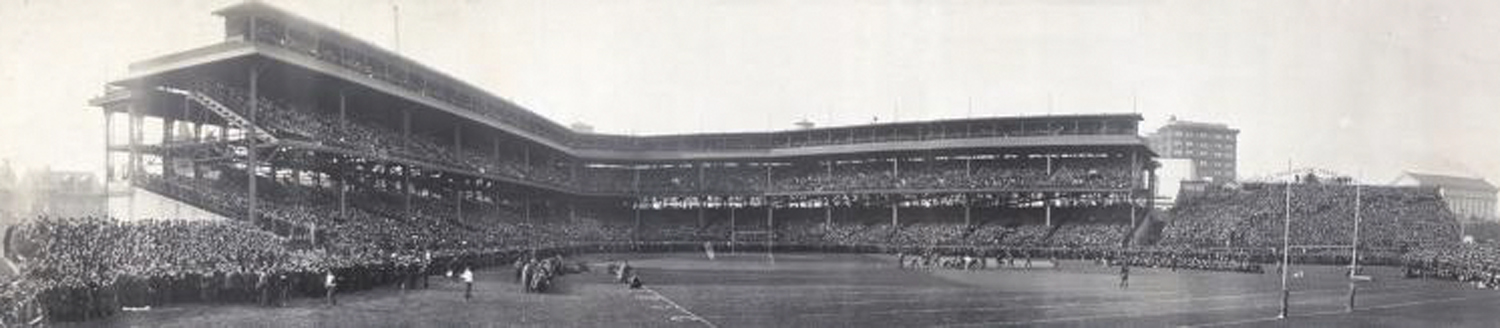The NFL's last flagless game occured in 1940 at the since-demolished Forbes Field. (Image via Wikimedia Commons)