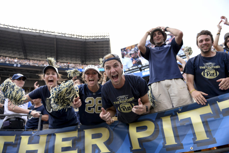 Fans+cheer+in+the+stands+after+Pitt+wins+the+2016+rivalry+game+against+Penn+State.