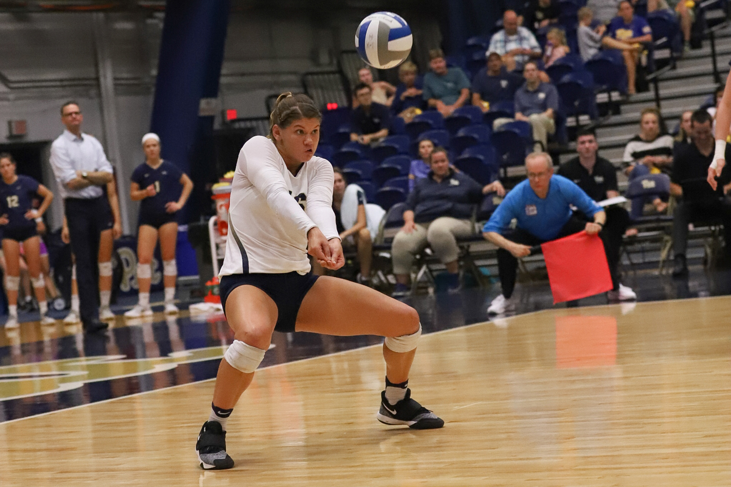 Redshirt senior Angela Seman bumps the ball during Pitt's 3-1 victory over Dayton September 7. (Photo by Kaycee Orwig | Staff Photographer)