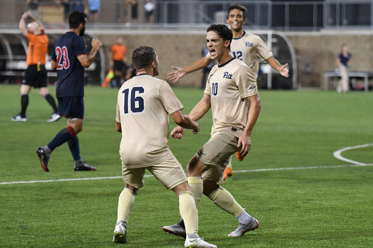 Sophomore Marcony Pimentel (10) celebrates after scoring Pitt's second goal on Detroit Mercy Tuesday night. (Photo by Bader Abdulmajeed | Staff Photographer)