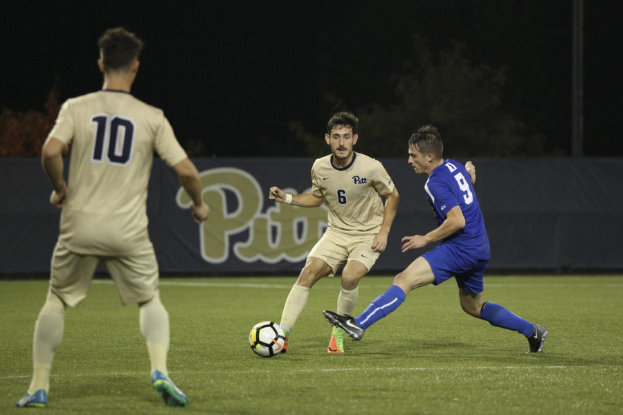Then-junior Javi Perez scored one of the Panther's three penalty kicks in their 4-3 loss to Duke. (Photo by Thomas Yang | Assistant Visual Editor)