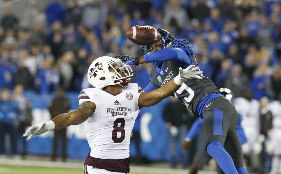 Kentucky cornerback Derrick Baity (29) breaks up a pass intended for Mississippi State wide receiver Fred Ross (8) in the fourth quarter of Kentucky's 40-38 win on Oct. 22, 2016.