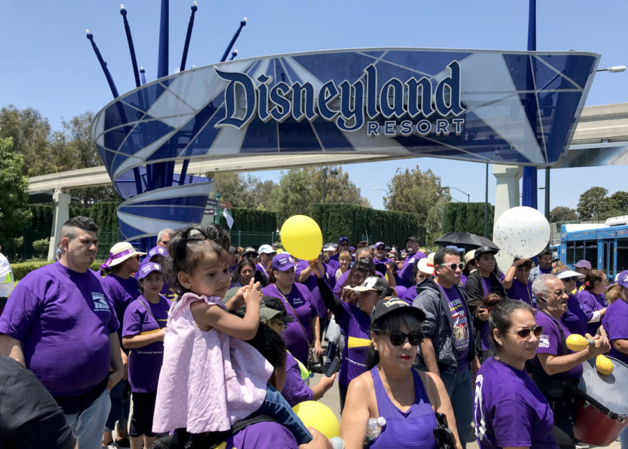 Disneyland workers from SEIU, UFCW, BCTGM local 83, and Teamsters local 494 unions protest July 3, 2018 over the lack of progress from negotiations with Disneyland Resort. Union leaders and resort officials announced a tentative agreement for a contract on July 23. (Allen J. Schaben/Los Angeles Times/TNS)