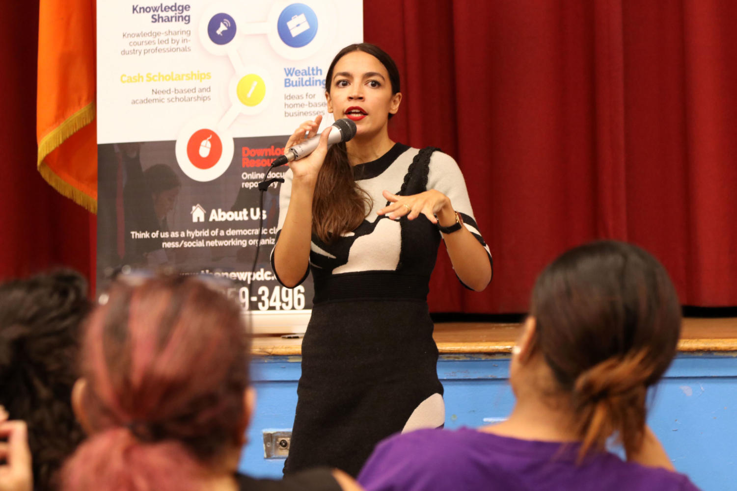 Democratic primary winner Alexandria Ocasio-Cortez, the darling of progressive U.S. politics, takes questions from constituents in the Parkchester section of The Bronx on August 8, 2018. (G. Ronald Lopez/Zuma Press/TNS)