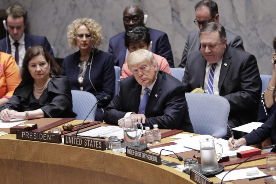 President Donald Trump participates in a UN Security Council meeting on counter-proliferation Wednesday, Sept. 26, 2018 at the UN Headquarters in New York. (Luiz Rampelotto/NurPhoto/Zuma Press/TNS)