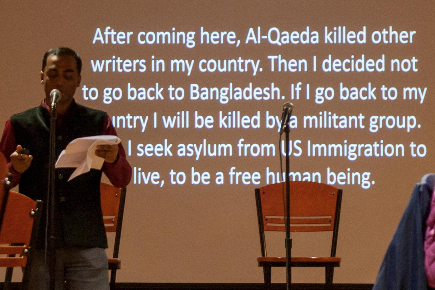"""Writer and activist Tuhin Das speaks about the dangers Al-Qaeda presented to writers in his homeland of Bangladesh at Wednesday night's """"City Of Asylum Exiled Writers Residencies"""" event. (Photo by Sarah Connor 