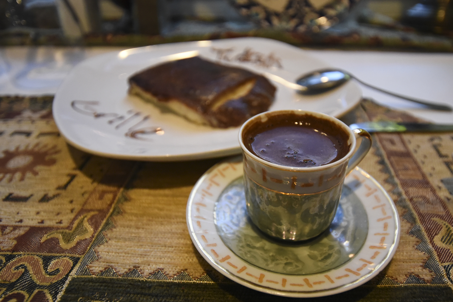 North Oakland's Turkish Grille serves Turkish coffee with kazandibi — baked milk pudding with a caramelized top.