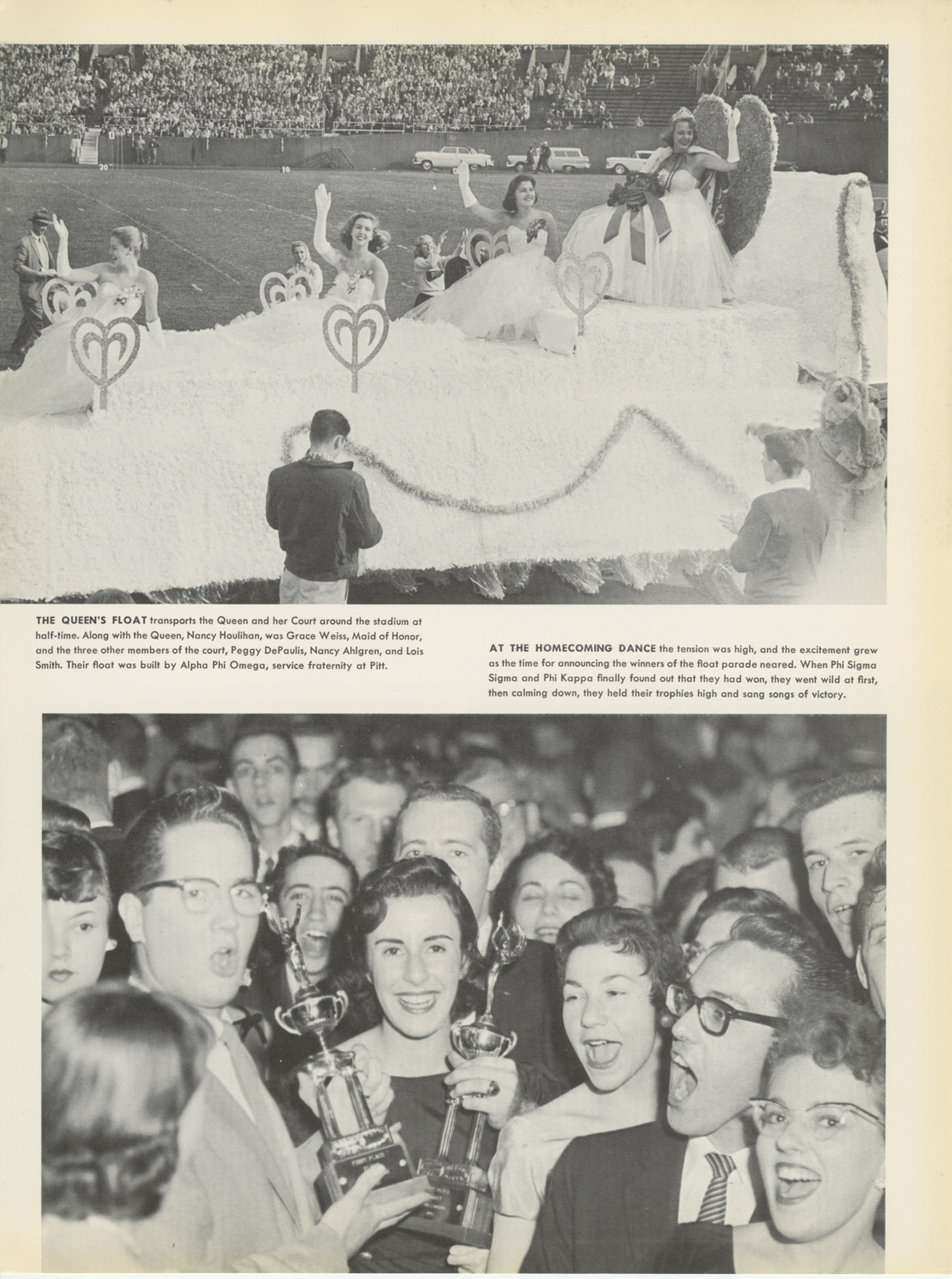 (Top) Pitt's 1957 homecoming queen rides atop a float built by Alpha Phi Omega, a service fraternity at Pitt. (Bottom) Phi Sigma Sigma and Phi Kappa find out they've won the float parade contest.