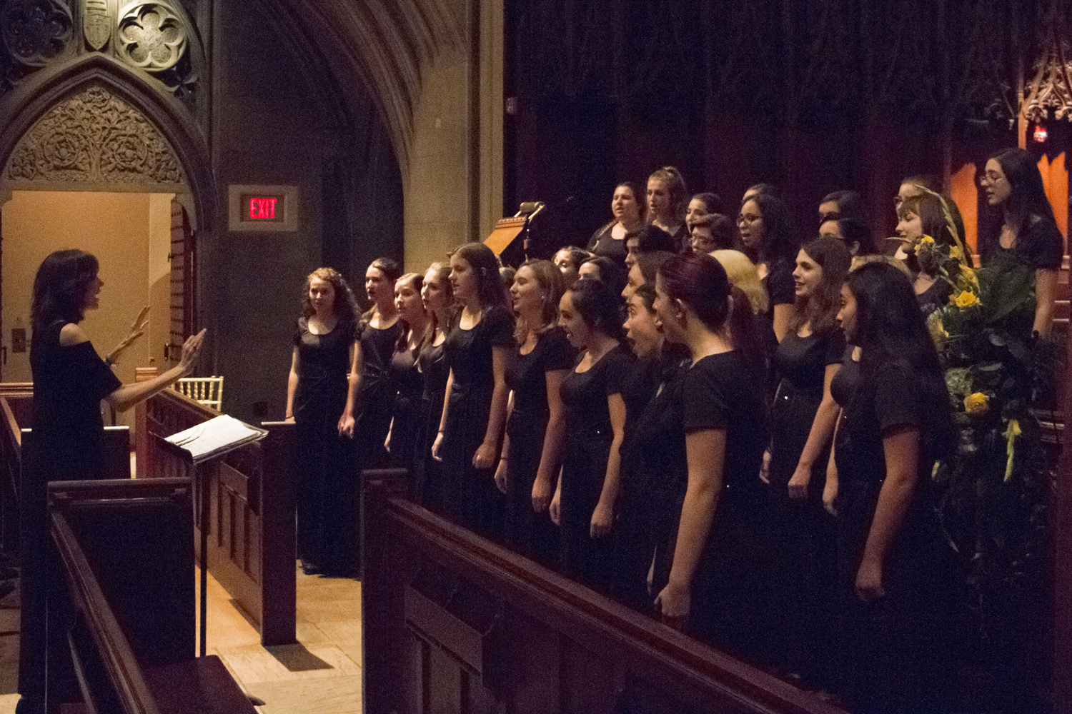 The University of Pittsburgh Symphony Orchestra, the PalPITTations and the Women's Choral Ensemble performed at the Pitt Alumni Association at Heinz Memorial Chapel Tuesday evening.