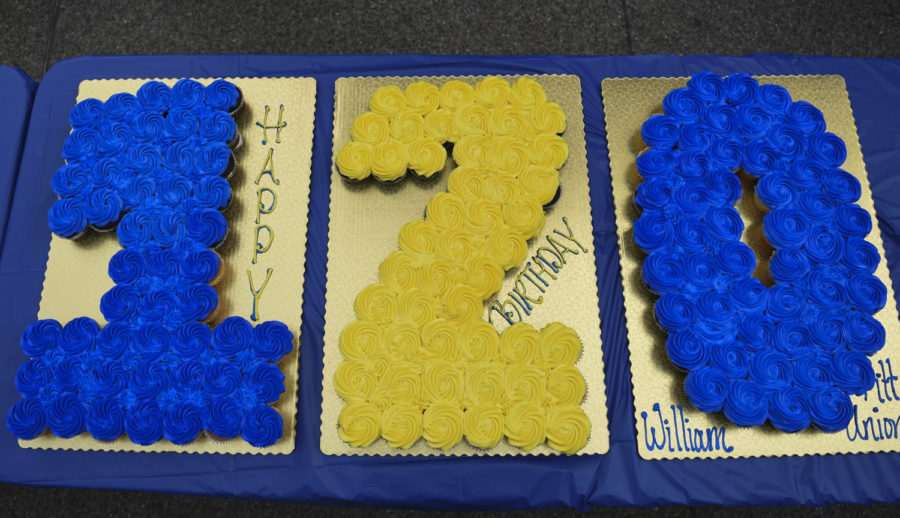 """Blue and gold cupcakes read """"120"""" in honor of the building's 120th birthday hosted by William Pitt Union staff."""