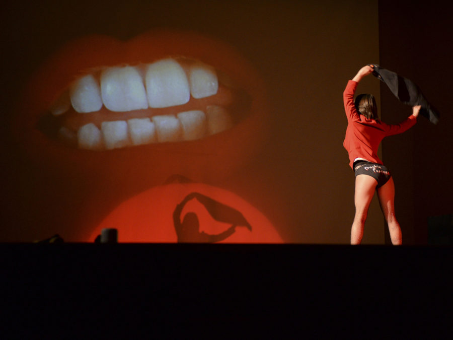"A Transylvanian performs ""Rocky Horror Picture Show's"" opening dance in Bellefield Hall Monday night."