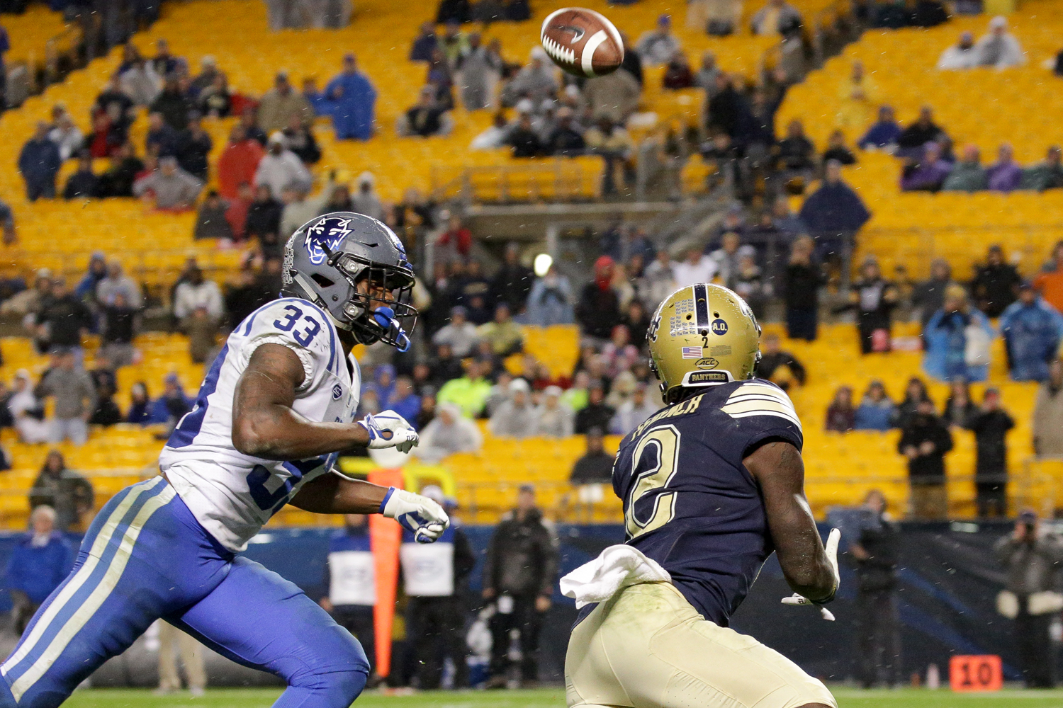Junior wide receiver Maurice Ffrench (2) receives Pitt's winning touchdown pass during the final minutes of the fourth quarter.