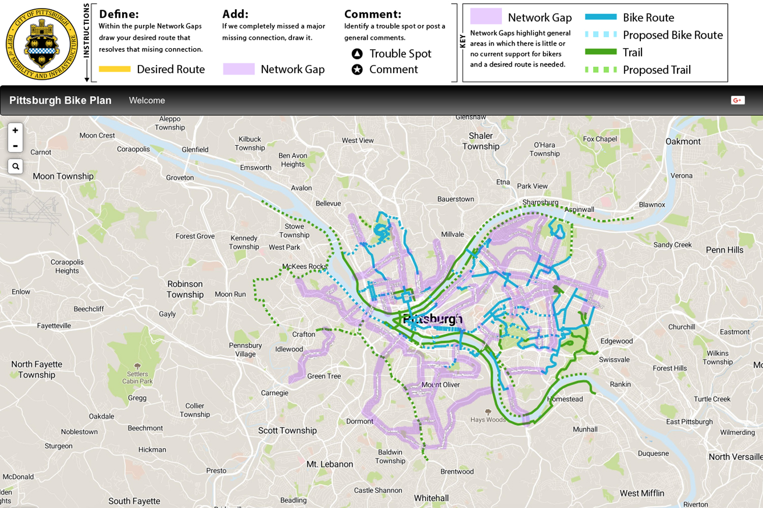 The City of Pittsburgh's Department of Mobility and Infrastructure displays a map with current and proposed bike routes and trails throughout the City.