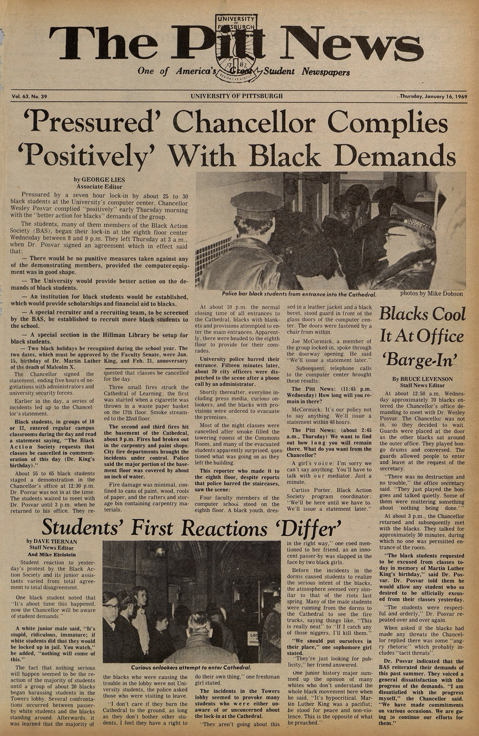 The front page of The Pitt News on Jan. 16, 1969, details an agreement between Black Action Society and the University for improved treatment of students of color. The photo (top) shows police preventing black students from entering the Cathedral.