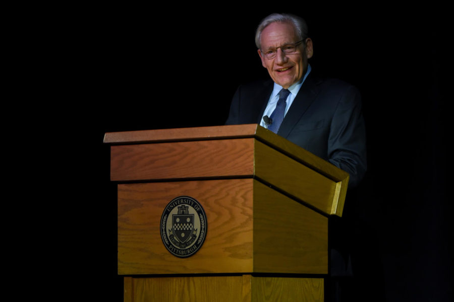 """Investigative journalist Bob Woodward discusses the process of interviewing sources for his book """"Fear"""" at Pitt Program Council's """"An Evening with Bob Woodward"""" Wednesday night. (Photo by Knox Coulter 