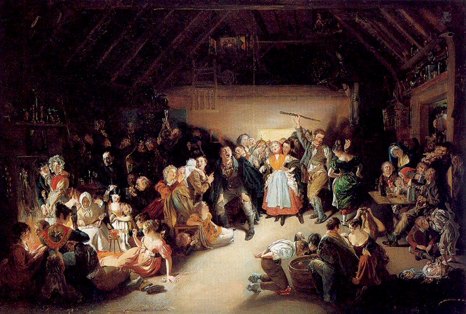 """Snap-Apple Night,"" painted by Daniel Maclise, depicts divination games that would be played on Samhain."
