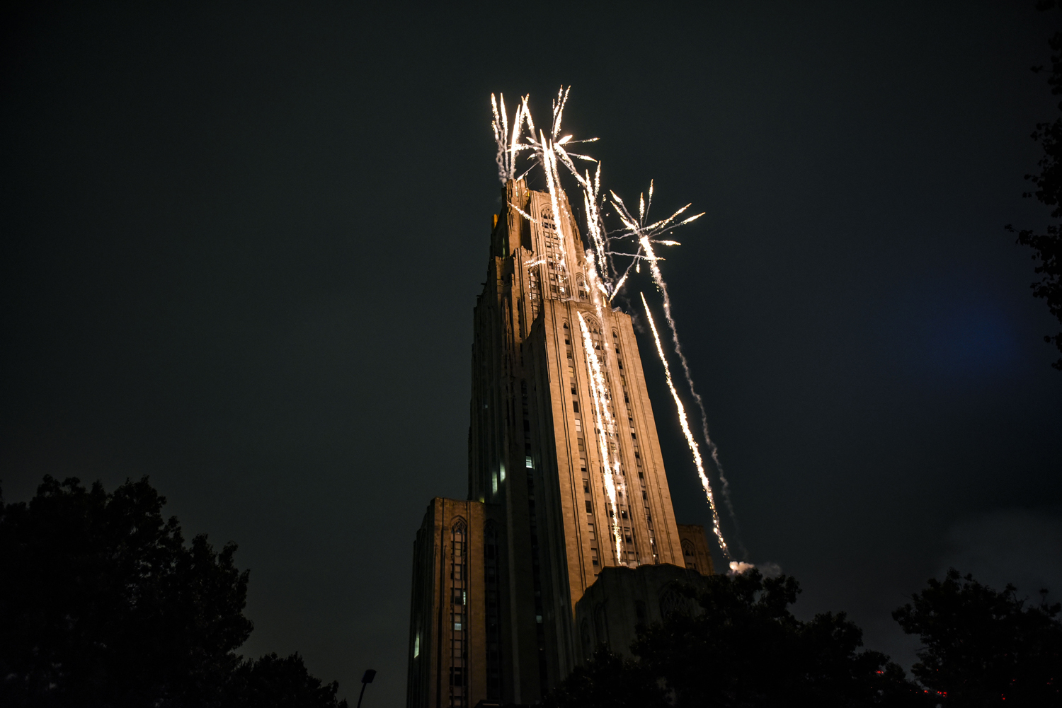 This year's Homecoming Laser & Fireworks Show, hosted by Pitt Program Council, took a staff of seven Zambelli Fireworks employees several hours to set up.