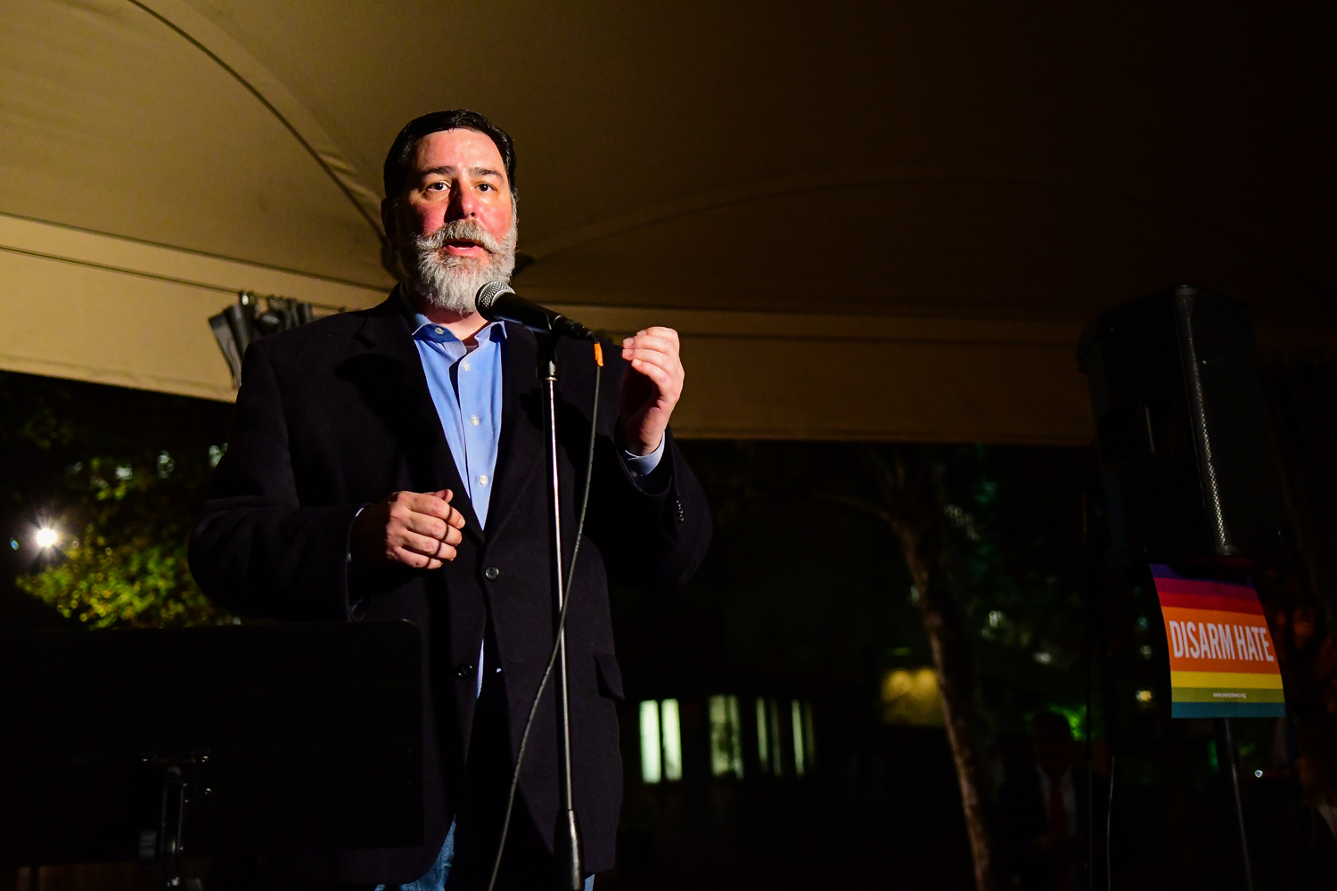"""Mayor Bill Peduto speaks about the relationship between hate speech and hate crimes at the """"Unite Against Hate"""" rally Wednesday evening."""