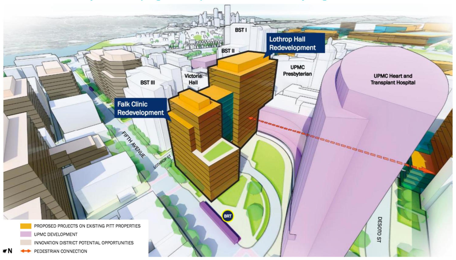 The planned UPMC Heart and Transplant Hospital as depicted in the University of Pittsburgh Campus Master Plan. (Image via University of Pittsburgh)