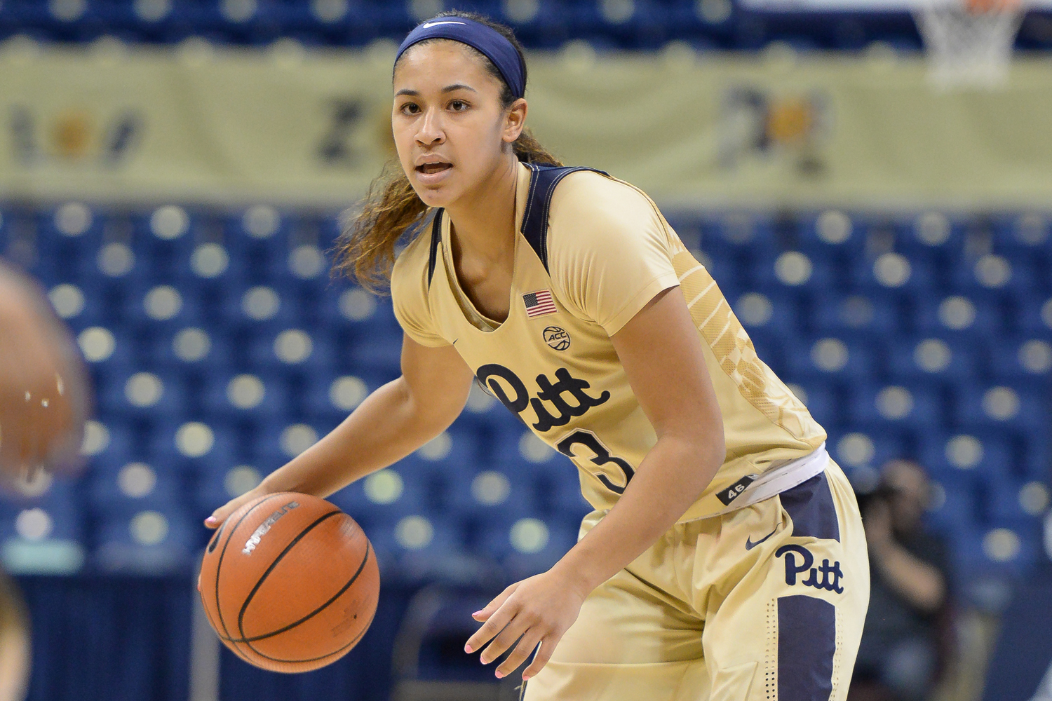 Junior guard Jasmine Whitney (3) contributed 13 points to Pitt's 68-46 victory over Gannon.