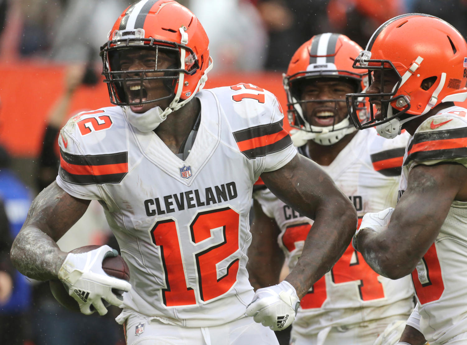 Josh Gordon celebrates his fourth quarter touchdown against the Pittsburgh Steelers on Sunday, Sept. 9, at FirstEnergy Stadium in Cleveland. The game ended in a 21-21 tie. (Phil Masturzo/Beacon Journal/TNS)