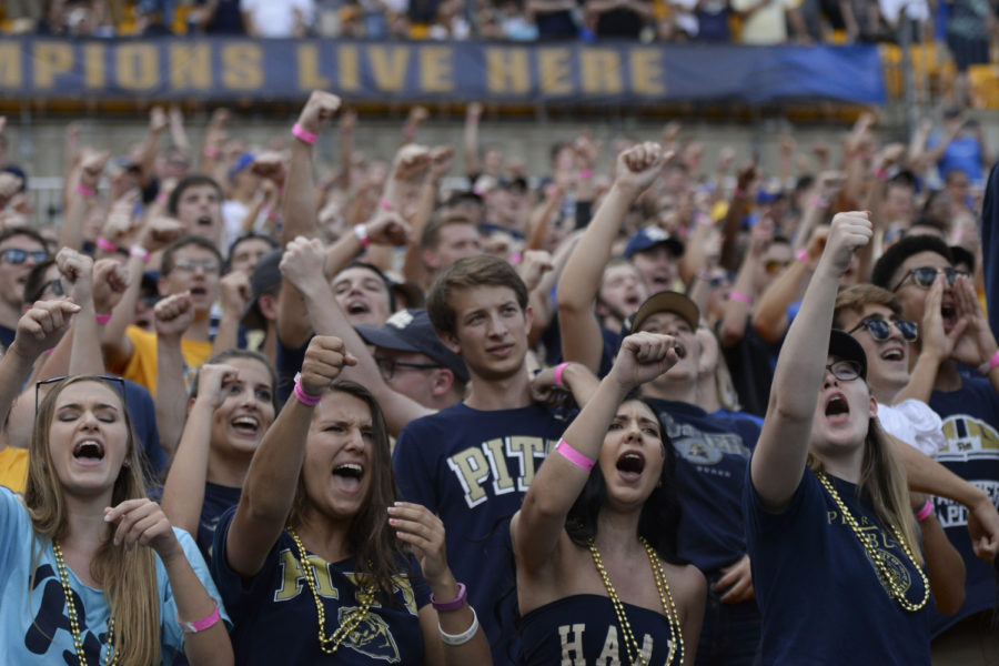 "Panther Pitt fans cheer ""Let's go Pitt"" while ""Sweet Caroline"" played during Pitt's game against Georgia Tech Sept. 15."
