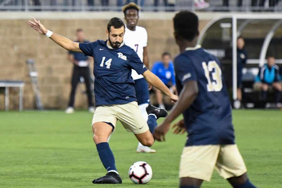 Sophomore Jose Luis Sena Arbona (14) scored the only goal during Pitt's 1-0 victory over Columbia. (Photo by Bader Abdulmajeed | Staff Photographer)