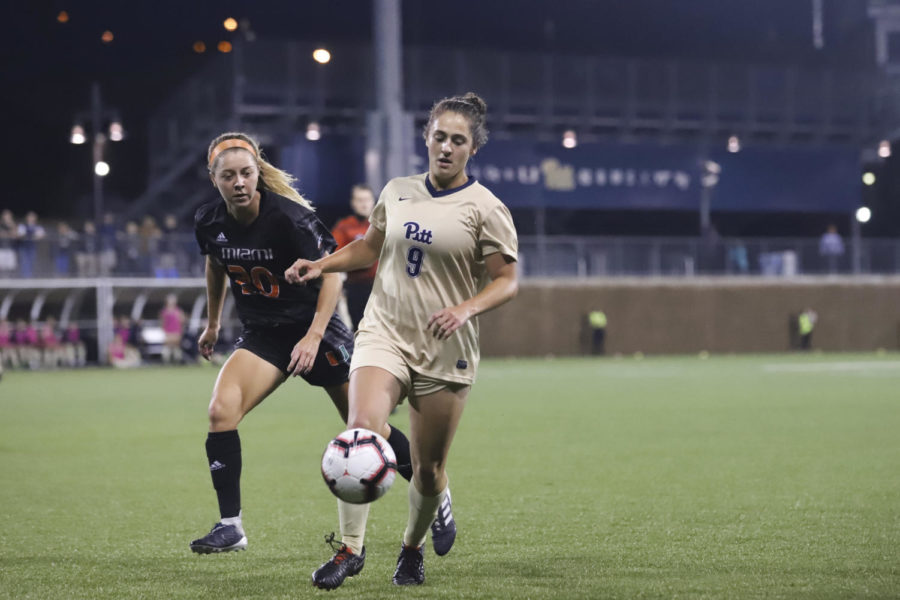 First-year Pitt forward Anna Rico dribbles the ball during the Panthers' match against Miami Thursday night. (Photo by Kaycee Orwig | Staff Photographer)