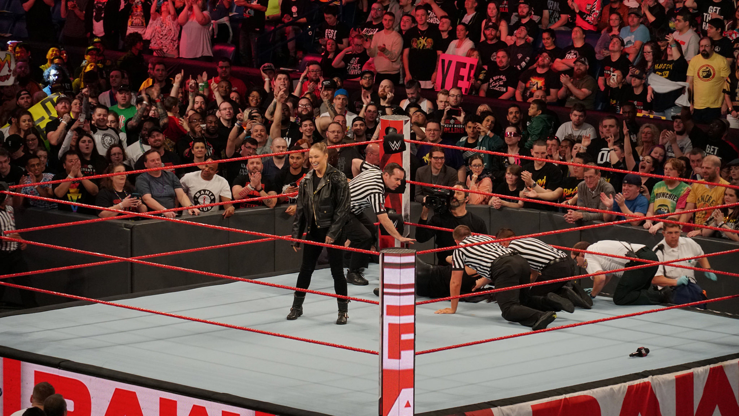 Ronda Rousey celebrates after a confrontation with Stephanie McMahon in April.